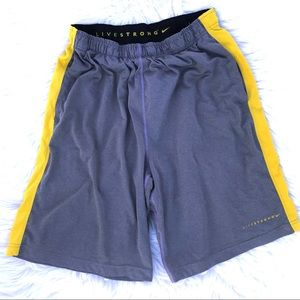 Livestrong Nike Mens Basketball Shorts Gray Yellow